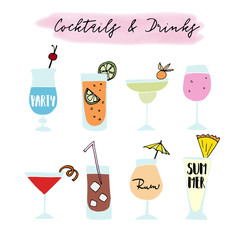 Set of hand drawn alcoholic drinks, cocktails with lettering quotes. Summer holiday and beach party concept. Isolated vector icons.