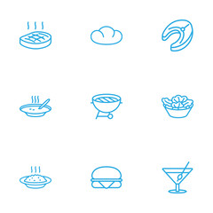 Set Of 9 Eat Outline Icons Set.Collection Of Porridge, Sandwich, Salad Elements.