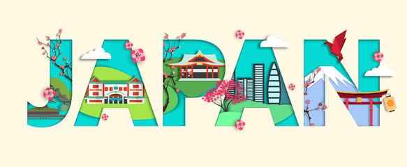 Trendy Japan travel vector design for banner, poster. Vector illustration