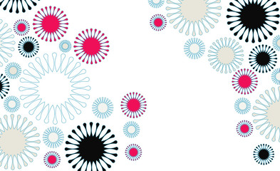 poster background with flowers floating in blue and white