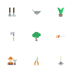 Flat Axe, Pruner, Grower And Other Vector Elements. Set Of Agriculture Flat Symbols Also Includes Car, Berries, Gardener Objects.