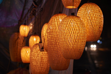 lanterns spread light on the old street of Hoi An Ancient Town - UNESCO World Heritage Site. Vietnam.