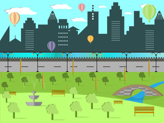 Vector illustration of urban landscape and beautiful park with river, bridge and air balloons, flat design illustration