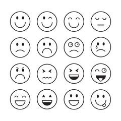 Smiling Cartoon Face Positive People Emotion Icon Set Vector Illustration