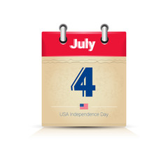 4 July Calendar Page United States Independence Day Holiday Banner Flat Vector Illustration