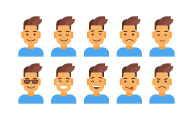 Profile Icon Male Different Emotion Set Avatar, Man Cartoon Portrait Face Collection Vector Illustration