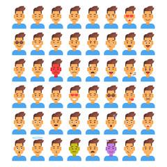 Profile Icon Male Different Emotion Set Avatar, Man Cartoon Portrait Face Collection Vector Illustration