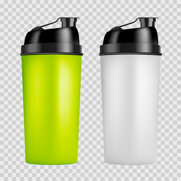Protein shaker design template. Two colors sport bottles. Shaker bottle isolated for gym bodybuilding