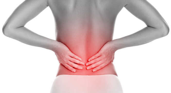 Woman with lower pain back