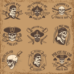 Set of pirate emblems on grunge background. Corsair skulls, weapon, swords,guns. Design elements for logo, label, emblem, sign, poster, t-shirt. Vector illustration