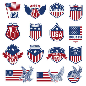 made in usa labels. Emblems with american symbols. Design elements for logo, badge, sign. Vector illustration