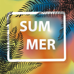 Summer background with palm. Vector background for banner,