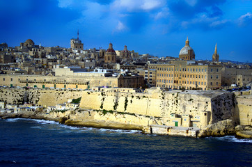 Sea view at the downtown fortress,fisherman's village and the city Valletta,Malta