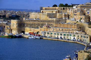 Sea view at the downtown fortress and the port Valletta,Malta