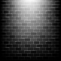 Vector black brick wall background in basement with beam of light