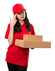 Delivery woman making suicide gesture