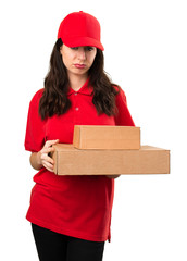Sad delivery woman
