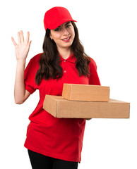 Delivery woman saluting