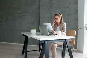 Working in modern office