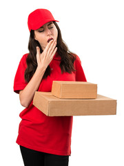 Delivery woman yawning