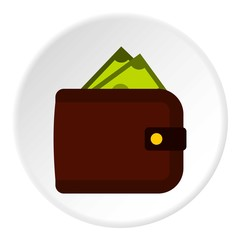 Purse with money icon, flat style