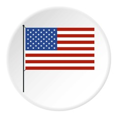 American flag icon, flat style