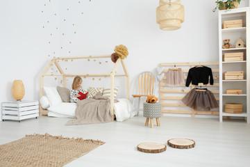Girl's bedroom in scandinavian style