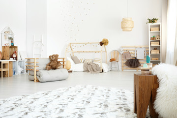 White spacious scandinavian room
