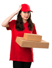 Young delivery woman having doubts