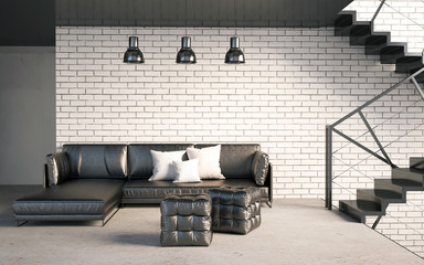Mock up wall in interior with stairs and sofa. living room hipster style. 3d illustration