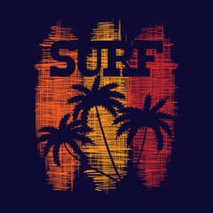 Surf typography poster. T-shirt fashion Design. Template for postcard, banner, flyer.
