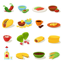 Mexican food traditional menu icon set