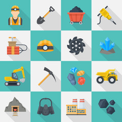 Minig industry icon cartoon set