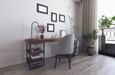 Scandinavian hipster interior with wooden desk