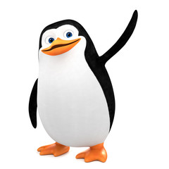 Funny penguin points to an empty space. 3d render illustration.