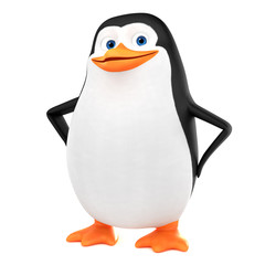 Funny penguin character on a white background. 3d render illustration.