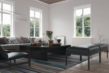 Scandinavian living room interior with couch