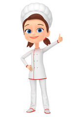 Girl chef  isolated on white background thumbs up. 3d rendered.