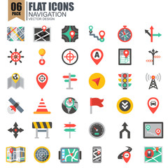 Simple set of navigation flat icons