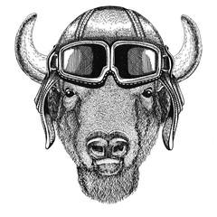 Buffalo, bison,ox, bull Aviator, biker, motorcycle Hand drawn illustration for tattoo, emblem, badge, logo, patch