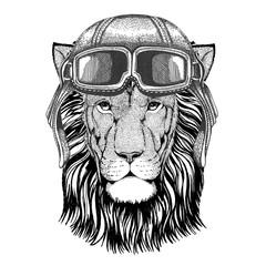 Wild Lion wearing leather helmet Aviator, biker, motorcycle Hand drawn illustration for tattoo, emblem, badge, logo, patch