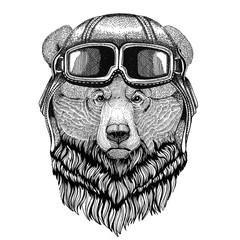 Grizzly bear Big wild bear wearing leather helmet Aviator, biker, motorcycle Hand drawn illustration for tattoo, emblem, badge, logo, patch
