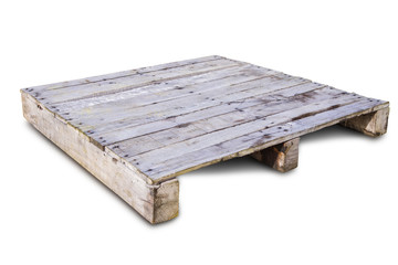 Old wooden pallet for shipping and easy for cart and forklift to lifting, pallet isolated on white with clipping path.