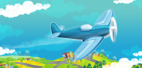 cartoon traditional plane with propeller flying over city