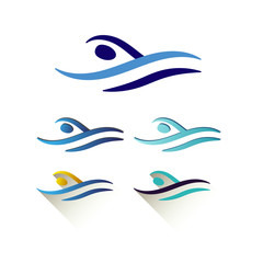 Modern Vector Abstract Swimming Logo