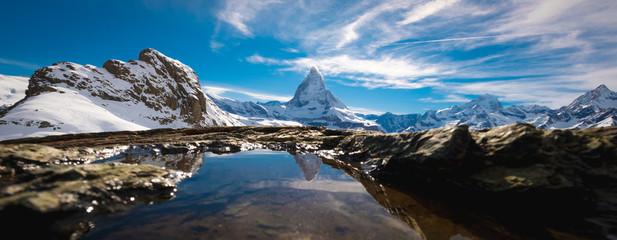 Reflection of Matterhorn in lake during autumn,zermatt, Switzerland