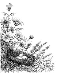 Fototapete - Floral background and a bird's nest