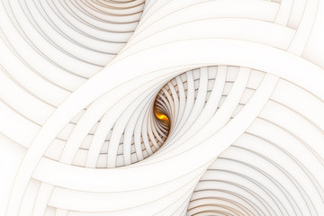 Abstraction. Golden glowing spiral on a light virtual background