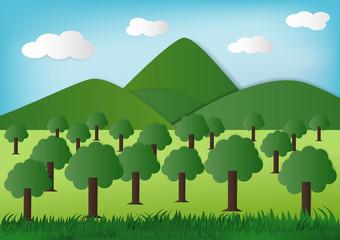 paper art green Nature, Eco green Concept.