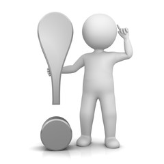 exclamation point exclamation mark silver grey 3d with standing stick man pointing to head in thinking pose and idea gesture isolated on white background in high resolution for business presentation